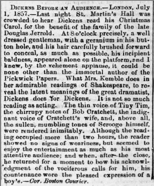 Dickens Performs a Christmas Carol